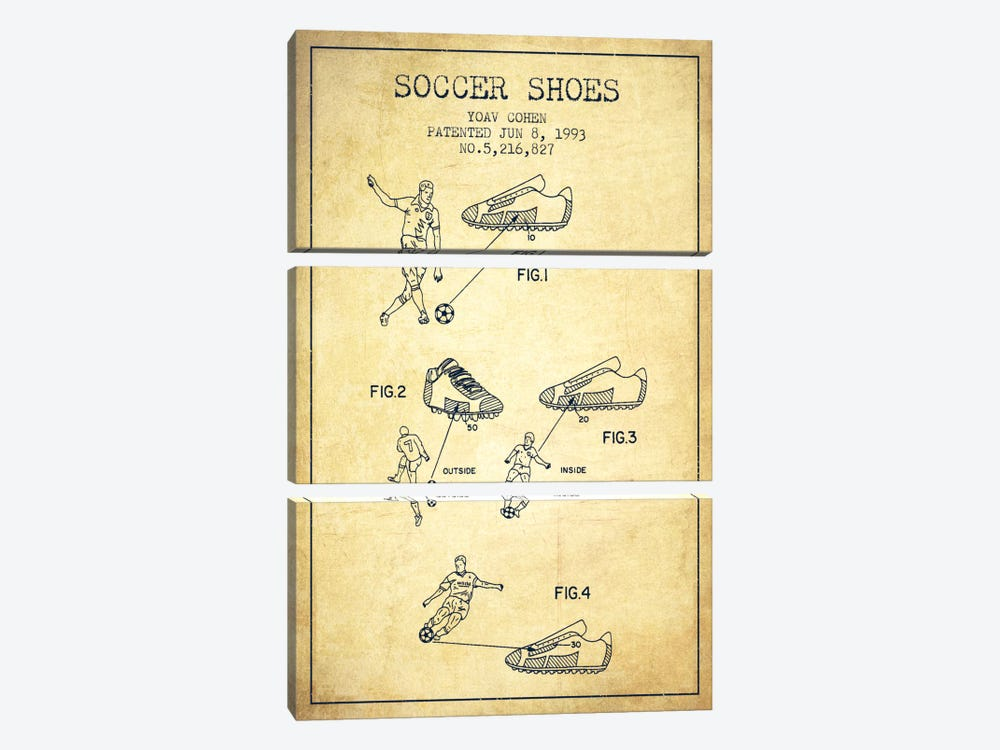 Cohen Soccer Shoe Vintage Patent Blueprint by Aged Pixel 3-piece Canvas Art Print