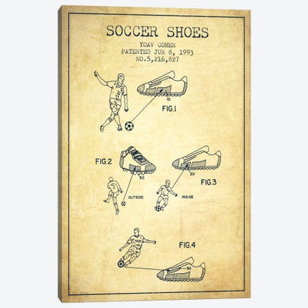 Cohen Soccer Shoe Vintage Patent Blueprint Canvas Print #ADP2259} by Aged Pixel Canvas Art Print