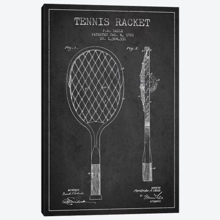 Tennis Racket Charcoal Patent Blueprint Canvas Print #ADP2260} by Aged Pixel Canvas Art