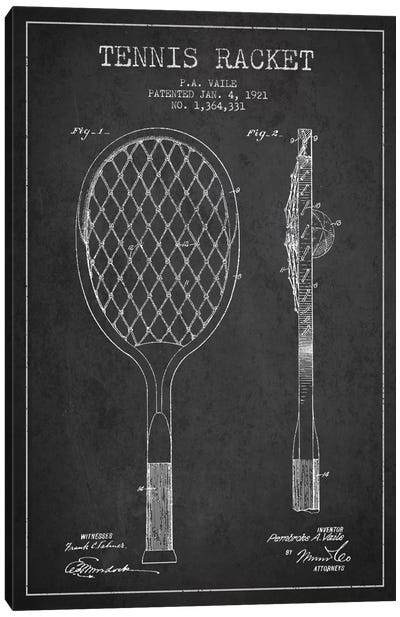 Tennis Racket Charcoal Patent Blueprint Canvas Art Print