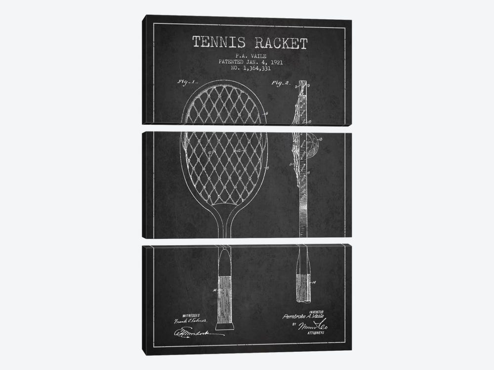 Tennis Racket Charcoal Patent Blueprint by Aged Pixel 3-piece Canvas Print