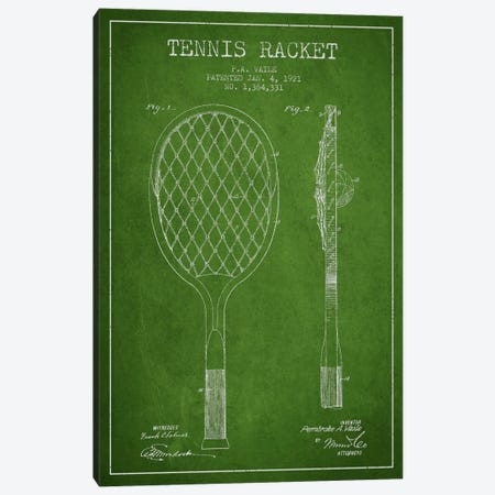 Tennis Racket Green Patent Blueprint Canvas Print #ADP2261} by Aged Pixel Canvas Art