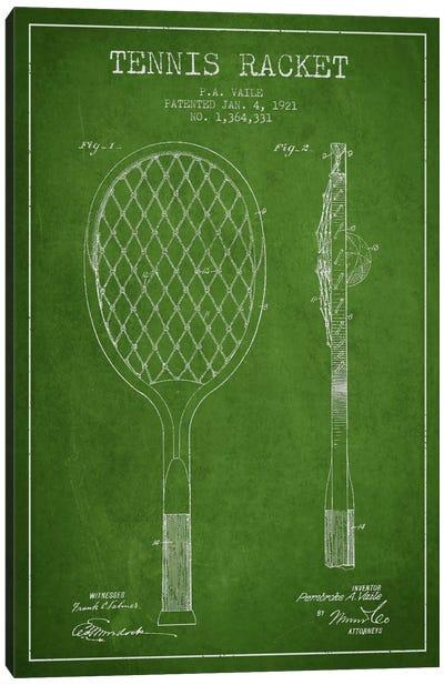 Tennis Racket Green Patent Blueprint Canvas Print #ADP2261