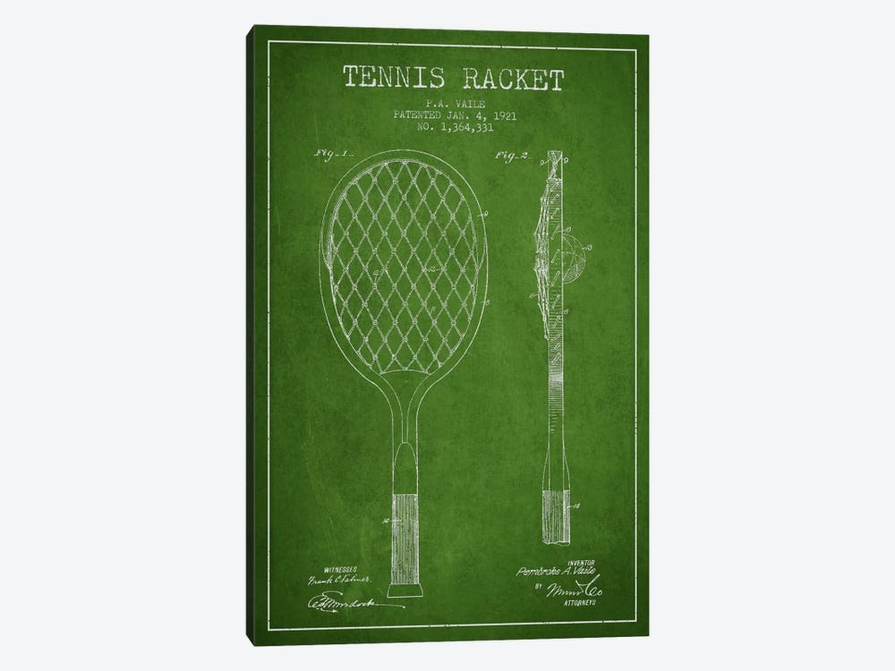 Tennis Racket Green Patent Blueprint by Aged Pixel 1-piece Canvas Wall Art
