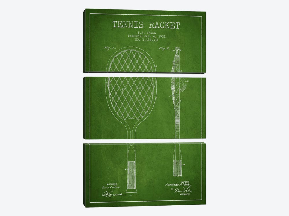 Tennis Racket Green Patent Blueprint by Aged Pixel 3-piece Canvas Wall Art