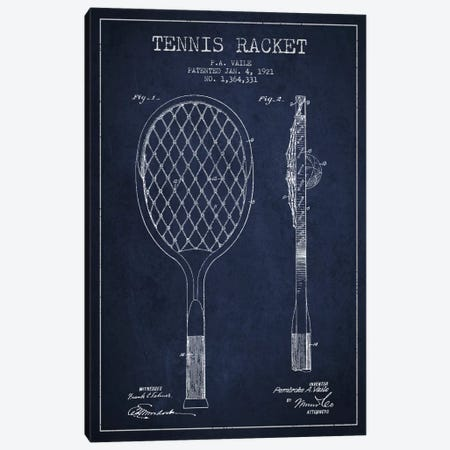 Tennis Racket Navy Blue Patent Blueprint Canvas Print #ADP2262} by Aged Pixel Canvas Artwork