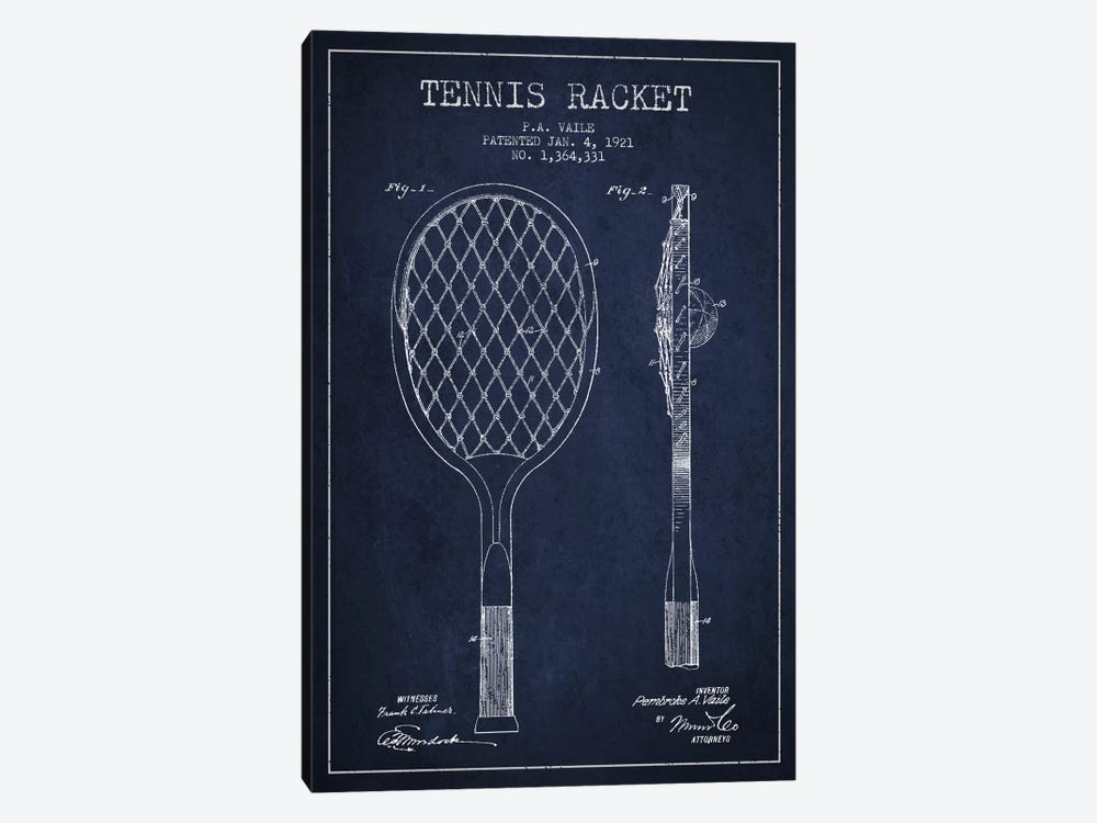 Tennis Racket Navy Blue Patent Blueprint by Aged Pixel 1-piece Canvas Art Print