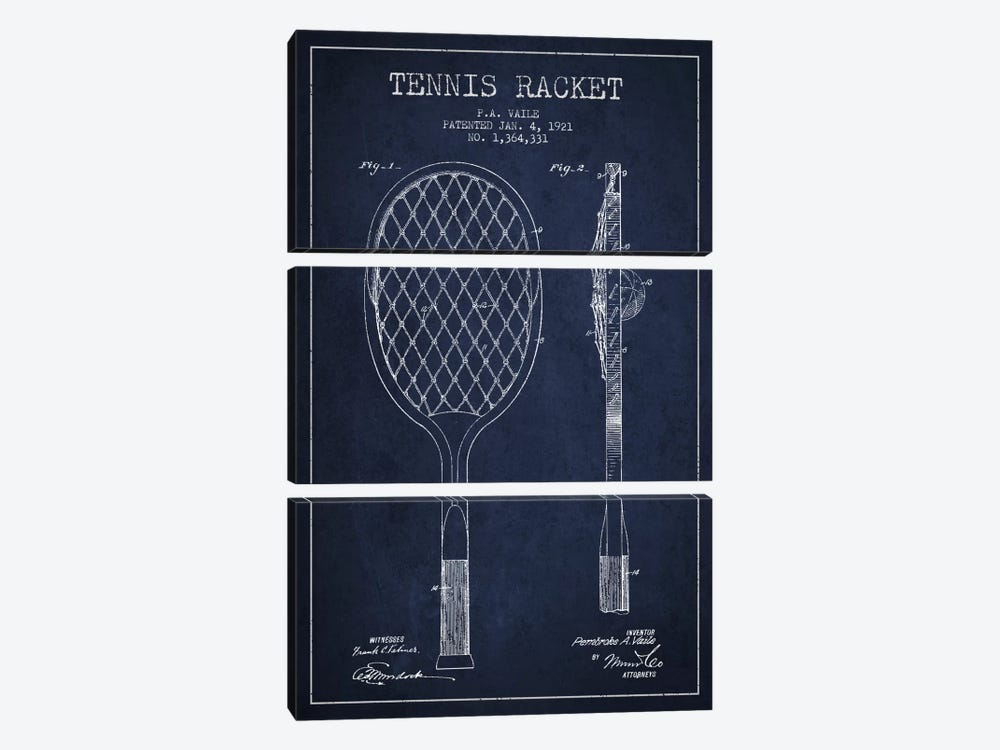 Tennis Racket Navy Blue Patent Blueprint by Aged Pixel 3-piece Canvas Art Print