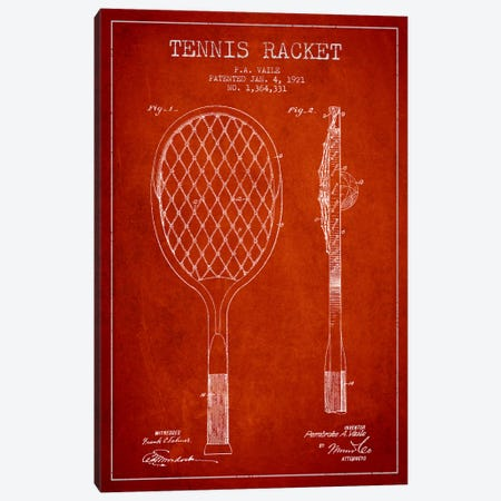 Tennis Racket Red Patent Blueprint Canvas Print #ADP2263} by Aged Pixel Canvas Artwork
