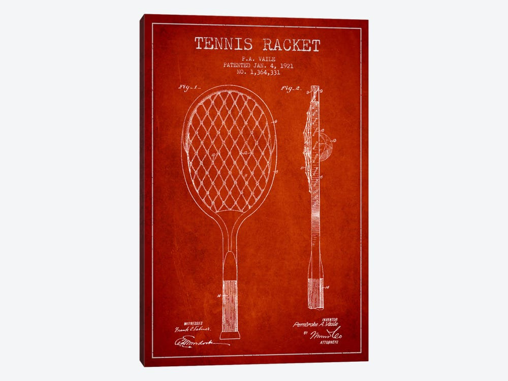 Tennis Racket Red Patent Blueprint by Aged Pixel 1-piece Canvas Wall Art