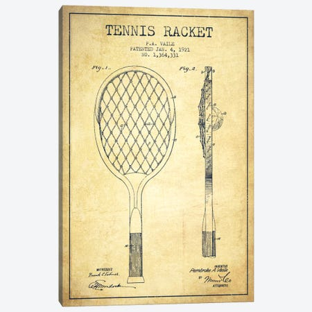 Tennis Racket Vintage Patent Blueprint Canvas Print #ADP2264} by Aged Pixel Canvas Art Print