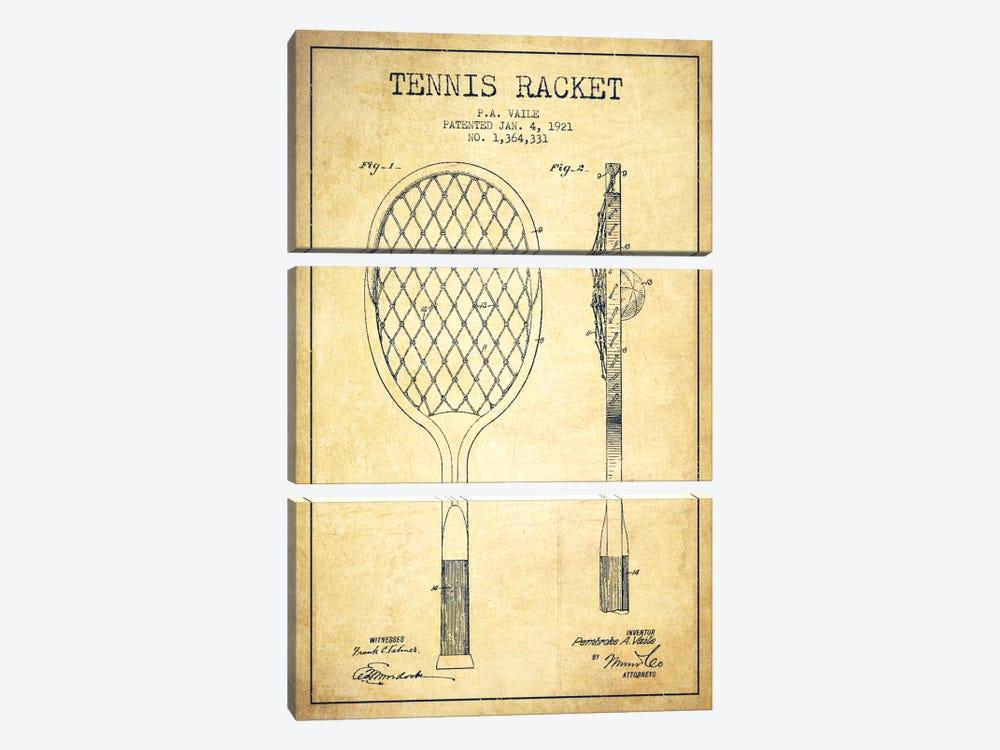 Tennis Racket Vintage Patent Blueprint by Aged Pixel 3-piece Canvas Art Print