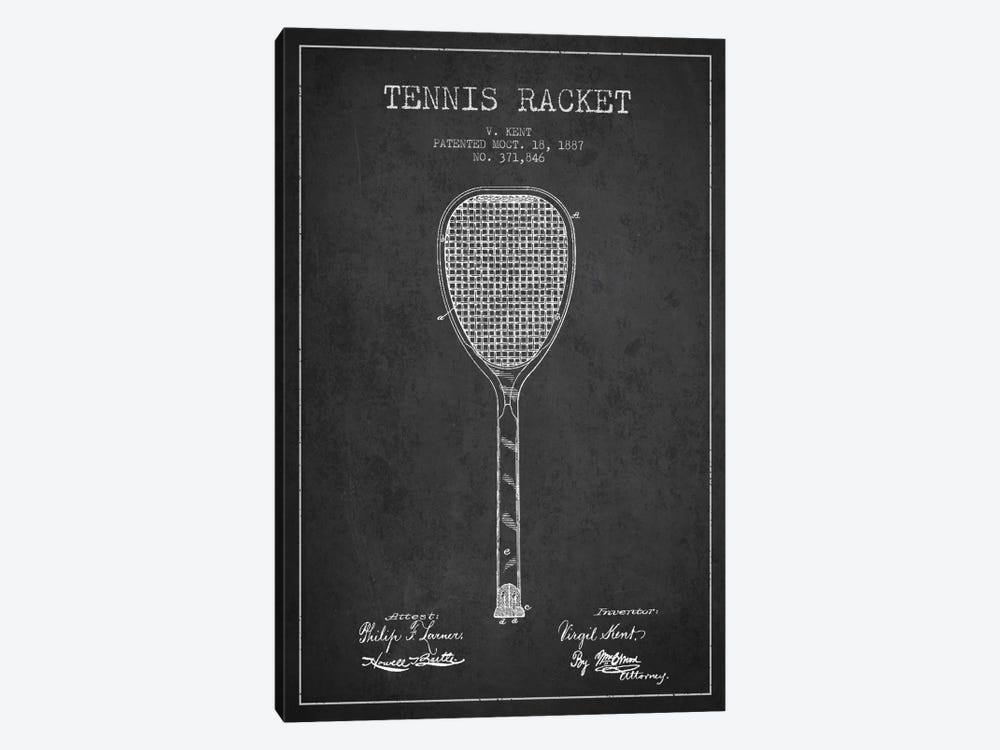 Tennis Racket Charcoal Patent Blueprint by Aged Pixel 1-piece Canvas Artwork