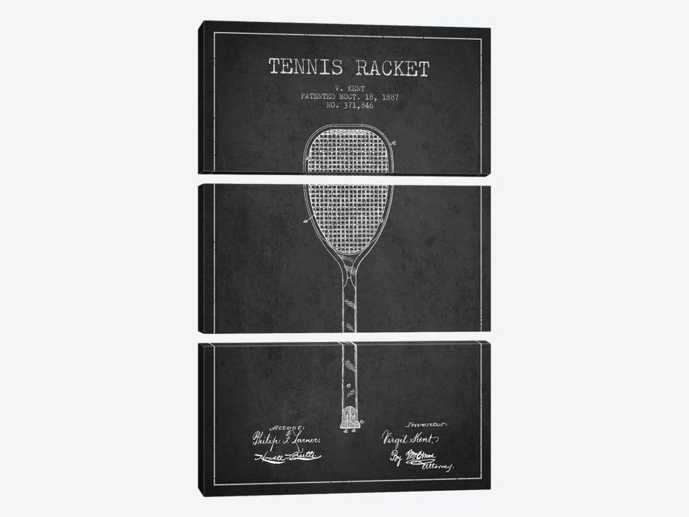 Tennis Racket Charcoal Patent Blueprint by Aged Pixel 3-piece Canvas Art