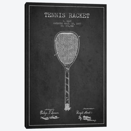 Tennis Racket Charcoal Patent Blueprint Canvas Print #ADP2265} by Aged Pixel Art Print