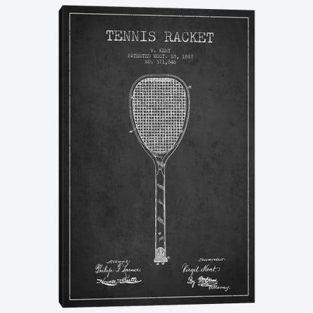 Tennis Racket Charcoal Patent Blueprint Canvas Print #ADP2265} by Aged Pixel Art Print