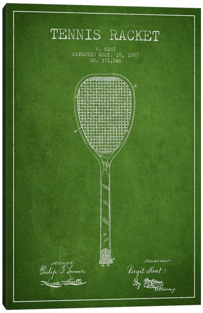 Tennis Racket Green Patent Blueprint Canvas Art Print