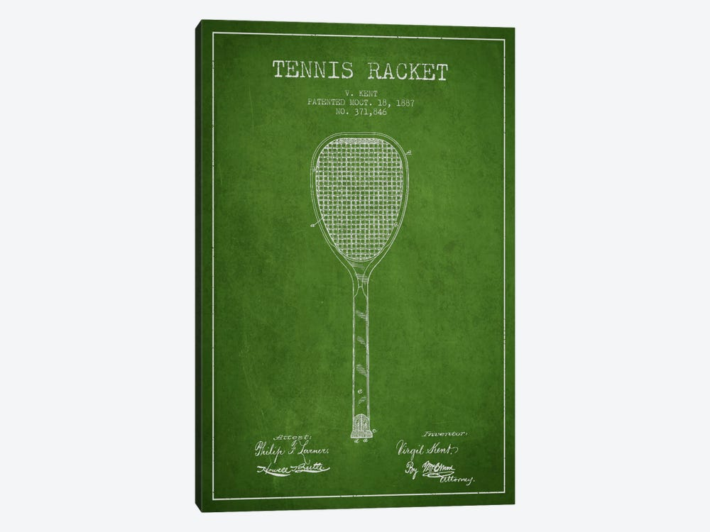 Tennis Racket Green Patent Blueprint by Aged Pixel 1-piece Canvas Art Print
