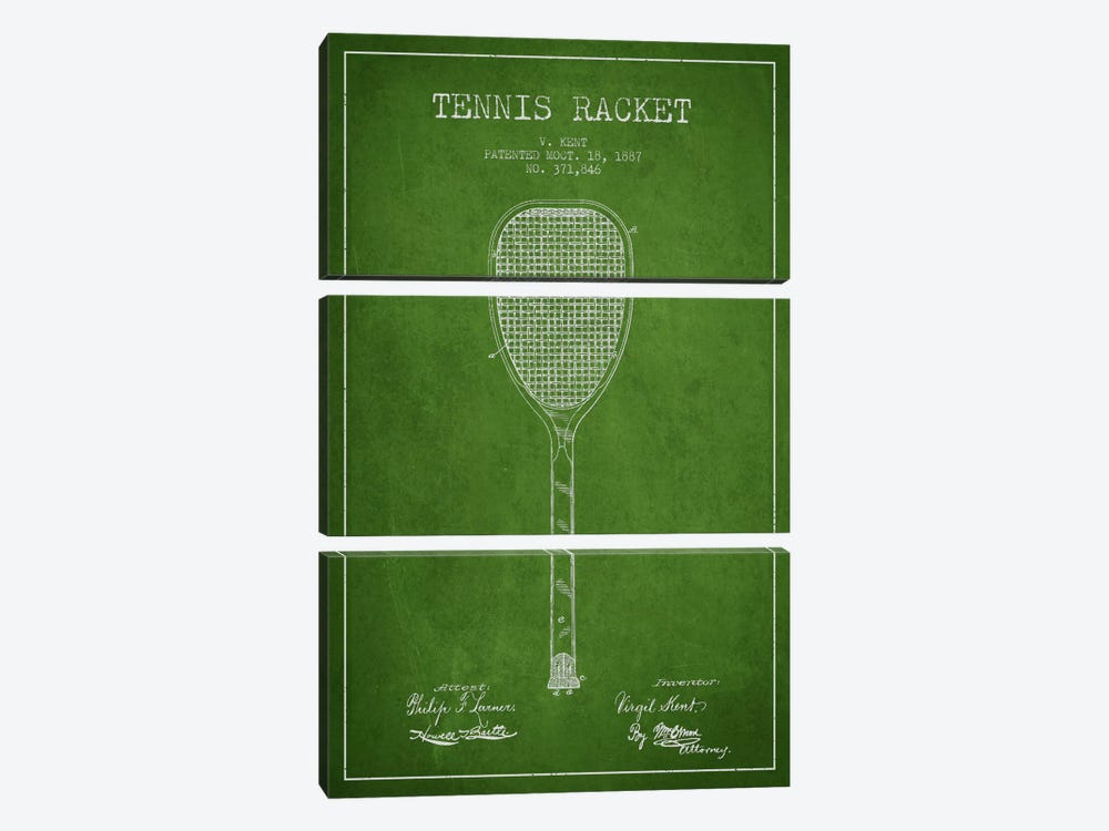 Tennis Racket Green Patent Blueprint by Aged Pixel 3-piece Art Print