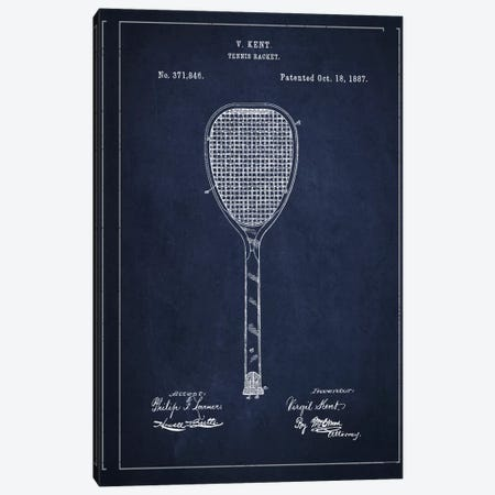 Tennis Racket Navy Blue Patent Blueprint Canvas Print #ADP2267} by Aged Pixel Canvas Print