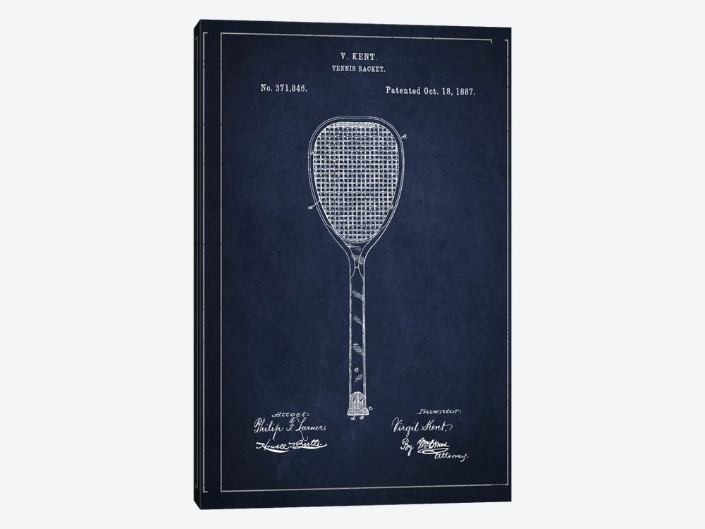 Tennis Racket Navy Blue Patent Blueprint by Aged Pixel 1-piece Canvas Wall Art