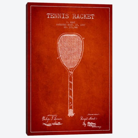 Tennis Racket Red Patent Blueprint Canvas Print #ADP2268} by Aged Pixel Canvas Artwork