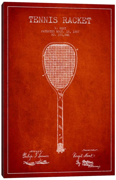 Tennis Racket Red Patent Blueprint Canvas Art Print