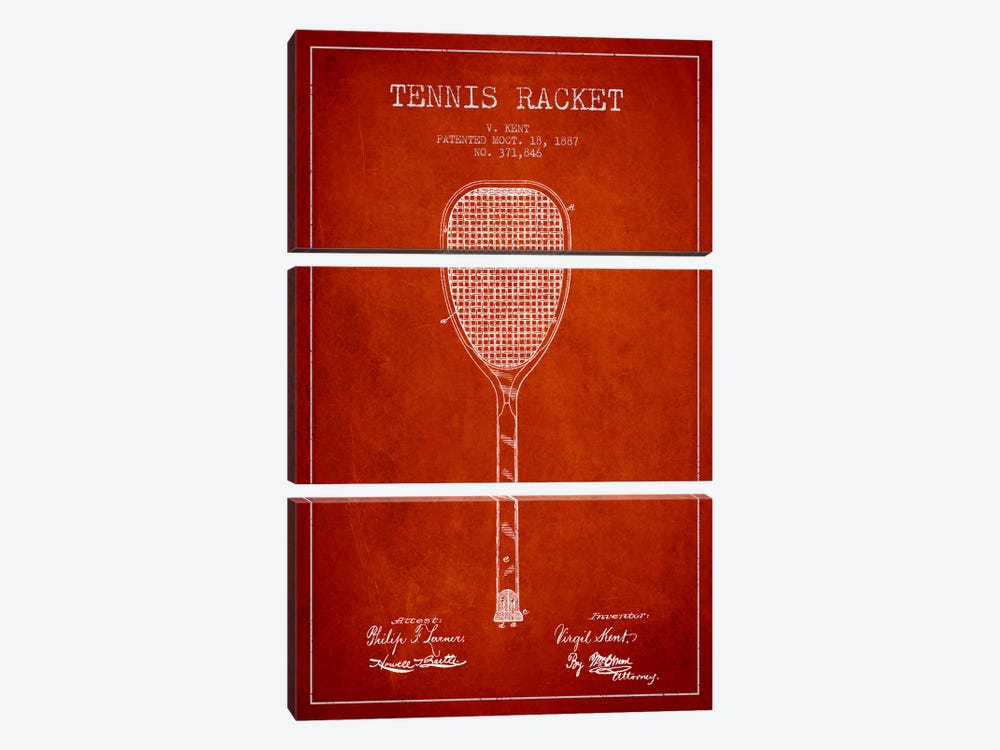 Tennis Racket Red Patent Blueprint by Aged Pixel 3-piece Canvas Print