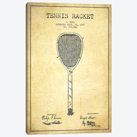 Tennis Racket Vintage Patent Blueprint Canvas Print #ADP2269} by Aged Pixel Canvas Art