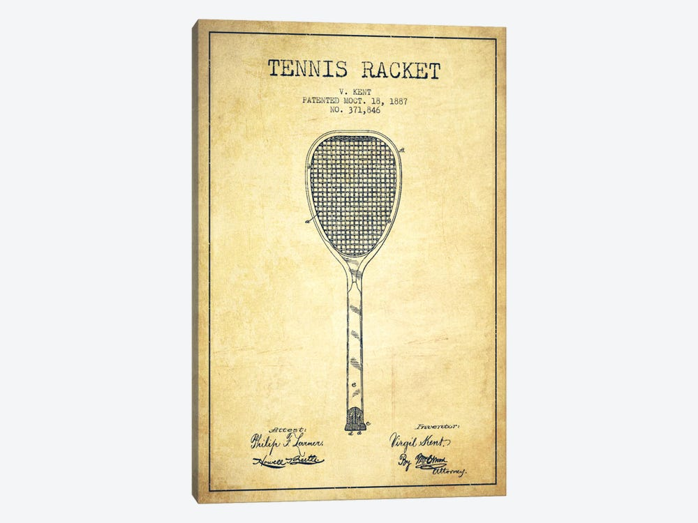 Tennis Racket Vintage Patent Blueprint by Aged Pixel 1-piece Canvas Wall Art