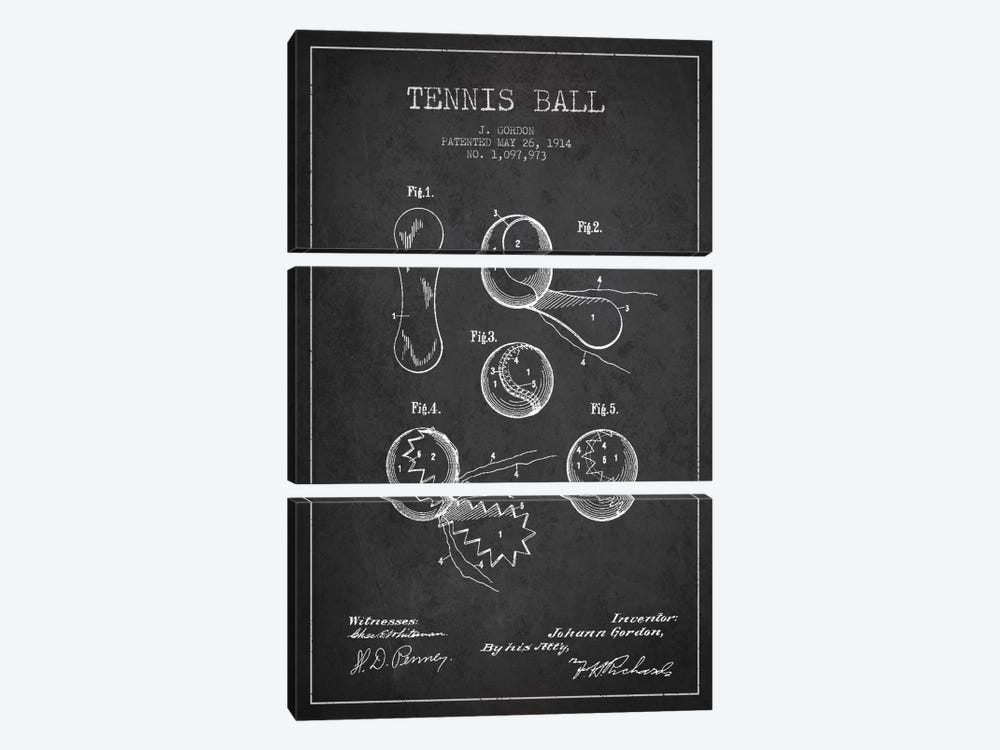 Tennis Ball Charcoal Patent Blueprint by Aged Pixel 3-piece Canvas Wall Art