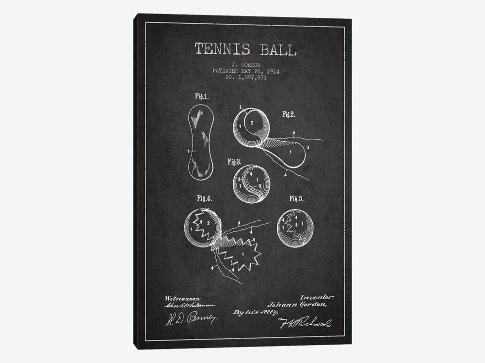 Tennis Ball Charcoal Patent Blueprint by Aged Pixel 1-piece Canvas Art