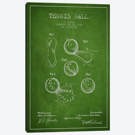 Tennis Ball Green Patent Blueprint Canvas Print #ADP2271} by Aged Pixel Canvas Print