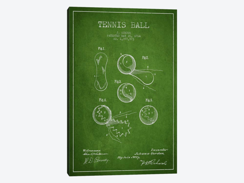 Tennis Ball Green Patent Blueprint by Aged Pixel 1-piece Canvas Print