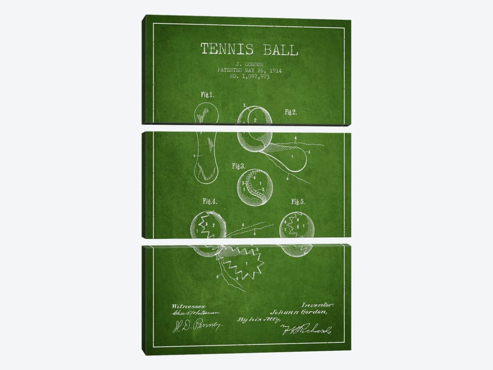 Tennis Ball Green Patent Blueprint by Aged Pixel 3-piece Art Print