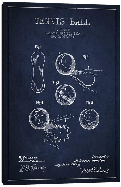 Tennis Ball Navy Blue Patent Blueprint Canvas Art Print