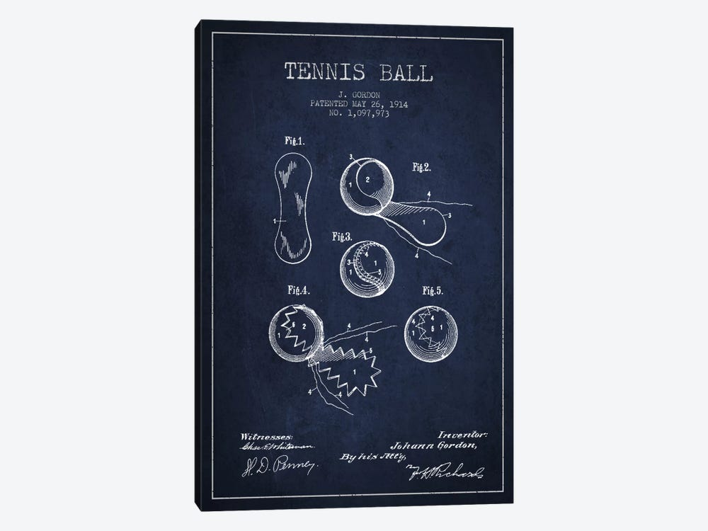 Tennis Ball Navy Blue Patent Blueprint by Aged Pixel 1-piece Canvas Artwork