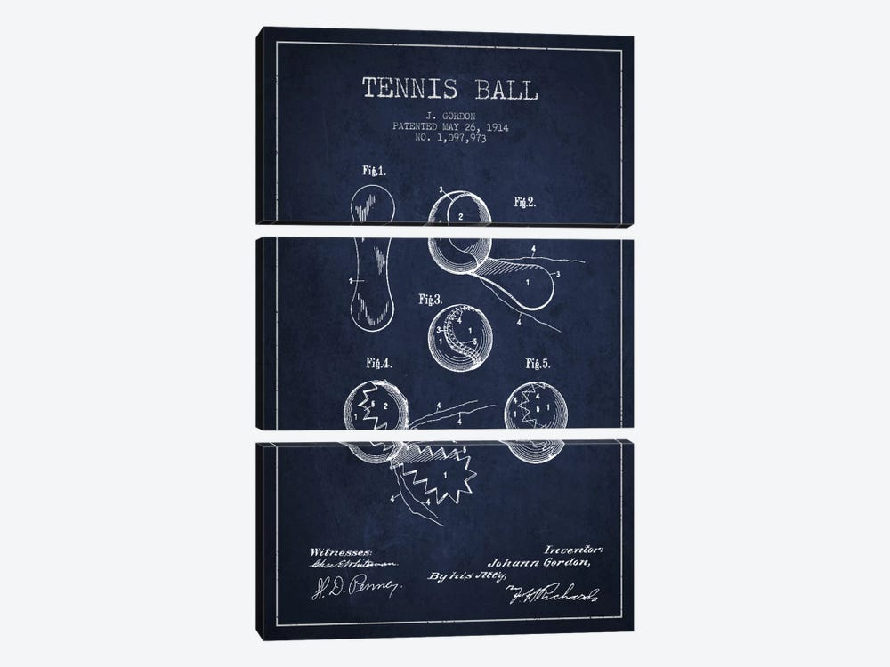 Tennis Ball Navy Blue Patent Blueprint by Aged Pixel 3-piece Canvas Wall Art