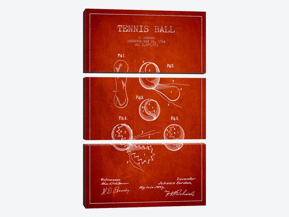 Tennis Ball Red Patent Blueprint by Aged Pixel 3-piece Canvas Print