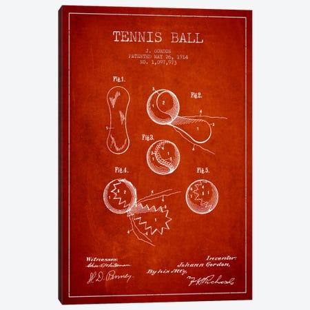Tennis Ball Red Patent Blueprint Canvas Print #ADP2273} by Aged Pixel Art Print