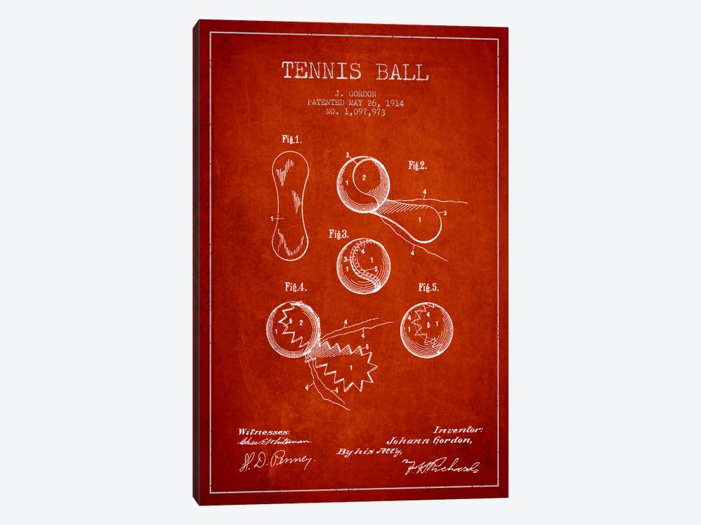 Tennis Ball Red Patent Blueprint by Aged Pixel 1-piece Canvas Print