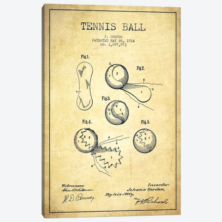 Tennis Ball Vintage Patent Blueprint Canvas Print #ADP2274} by Aged Pixel Canvas Art