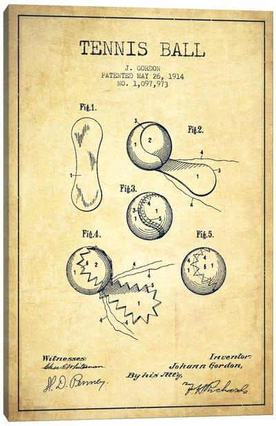 Tennis Ball Vintage Patent Blueprint Canvas Art Print