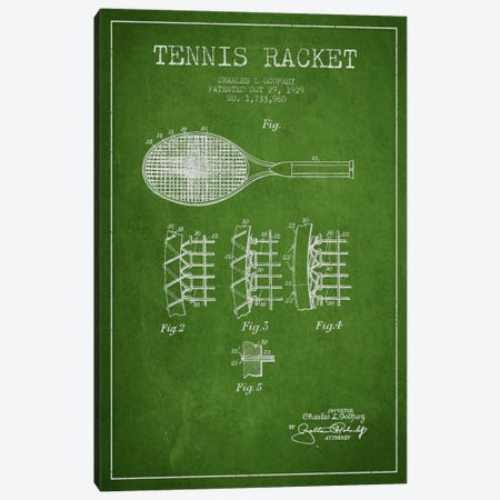 Tennis Racket Green Patent Blueprint Canvas Print #ADP2276} by Aged Pixel Canvas Artwork