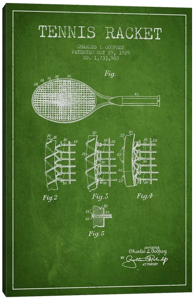 Tennis Racket Green Patent Blueprint Canvas Print #ADP2276