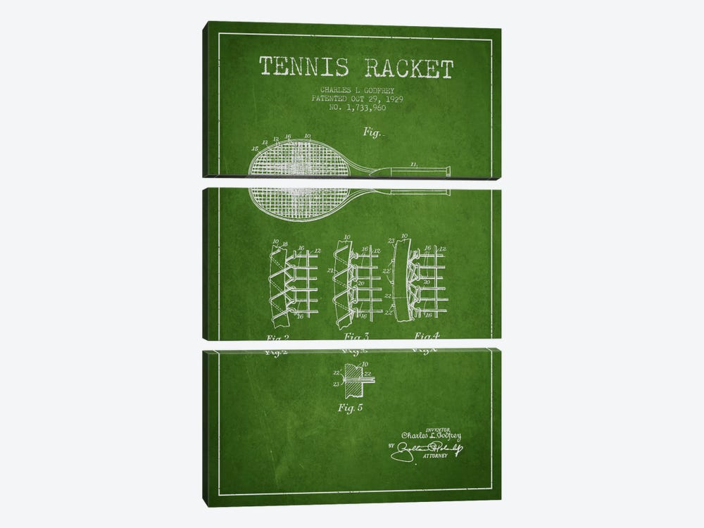 Tennis Racket Green Patent Blueprint by Aged Pixel 3-piece Canvas Artwork