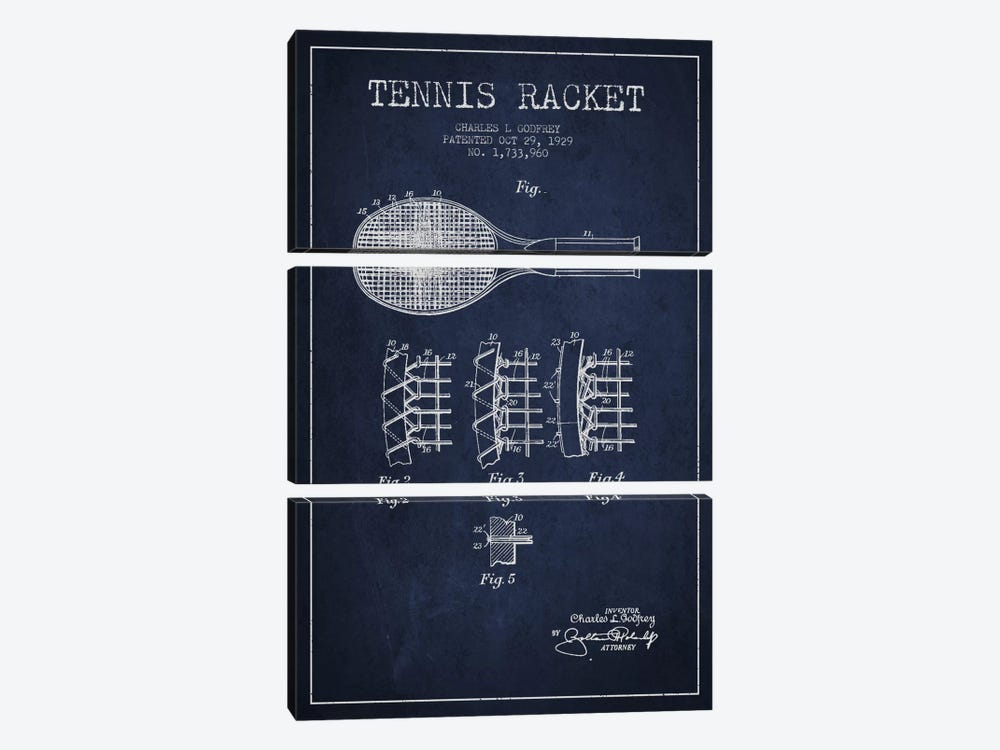Tennis Racket Navy Blue Patent Blueprint by Aged Pixel 3-piece Art Print