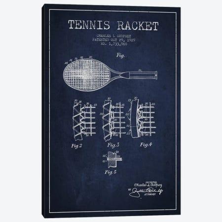 Tennis Racket Navy Blue Patent Blueprint Canvas Print #ADP2277} by Aged Pixel Canvas Wall Art