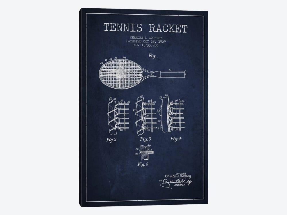 Tennis Racket Navy Blue Patent Blueprint by Aged Pixel 1-piece Canvas Art Print