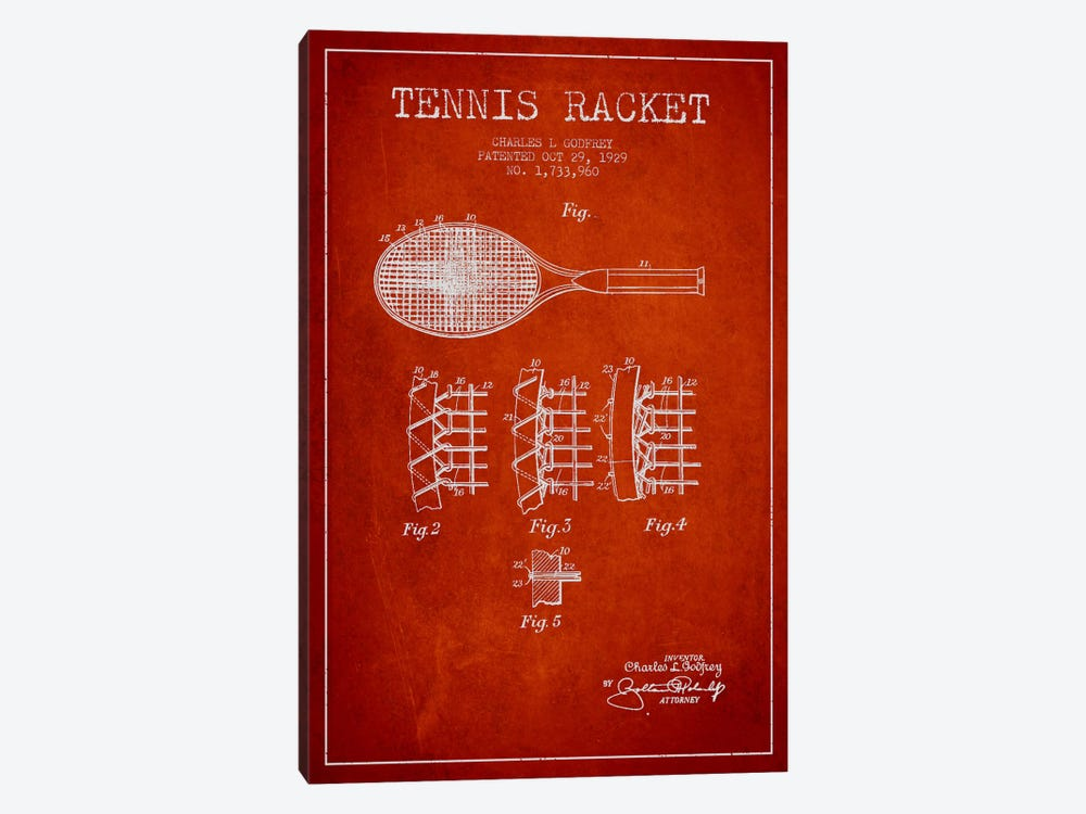 Tennis Racket Red Patent Blueprint by Aged Pixel 1-piece Canvas Artwork